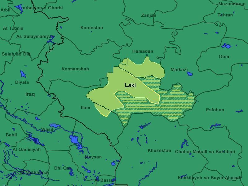 نقشه لکستان ، نقشه مناطق لک نشین